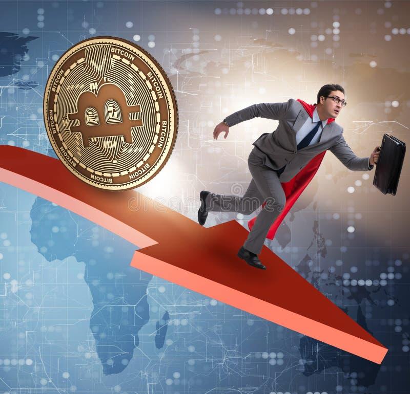 Bitcoin που χαράζει τον επιχειρηματία στη συντριβή τιμών cryptocurrency στοκ φωτογραφία με δικαίωμα ελεύθερης χρήσης