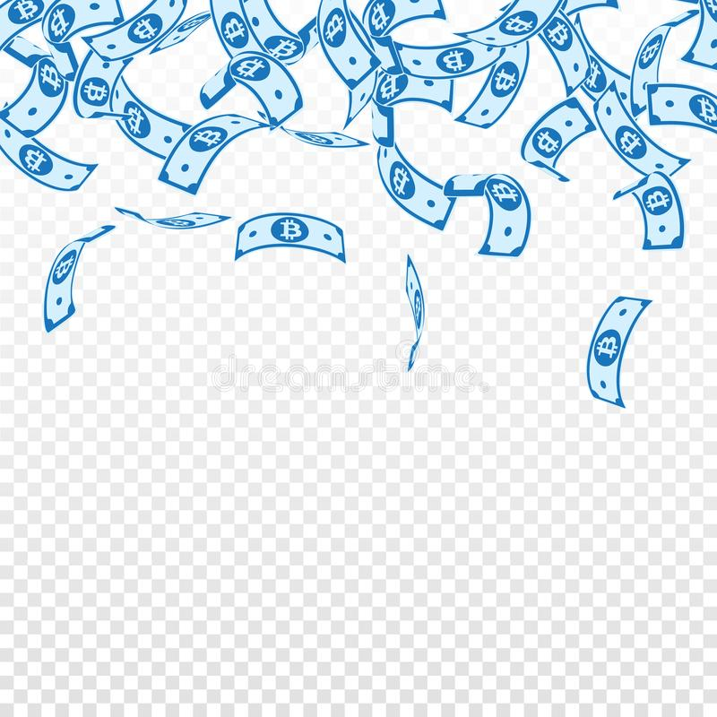 Bitcoin, πτώση σημειώσεων νομίσματος Διαδικτύου floating διανυσματική απεικόνιση