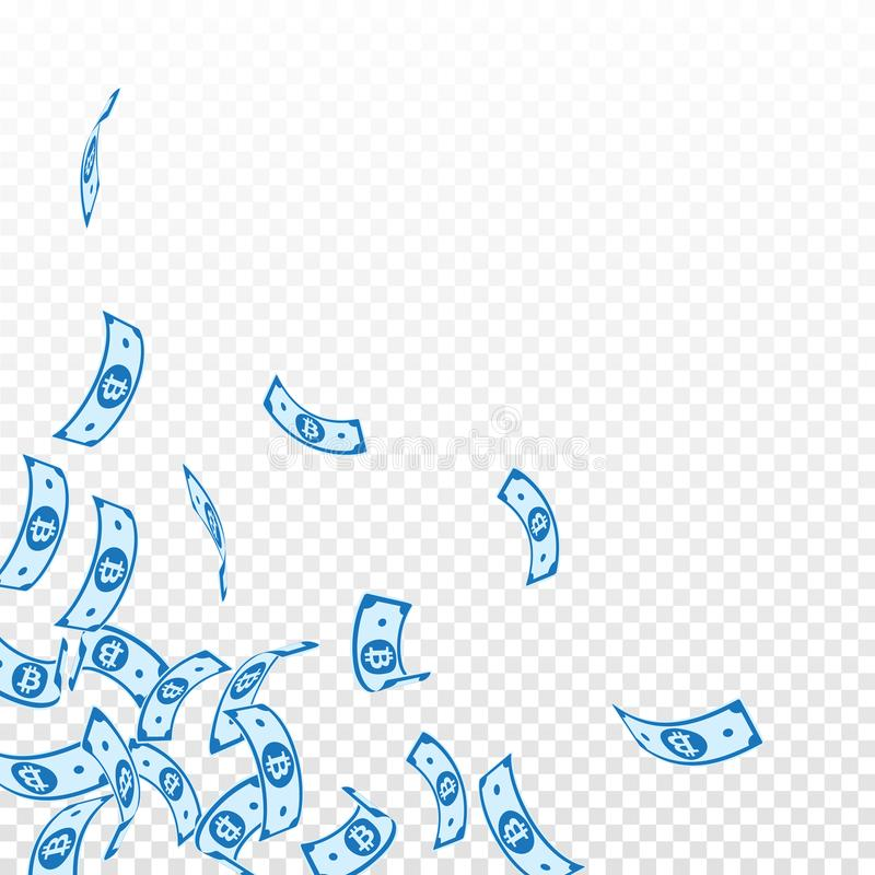 Bitcoin, πτώση σημειώσεων νομίσματος Διαδικτύου floating απεικόνιση αποθεμάτων