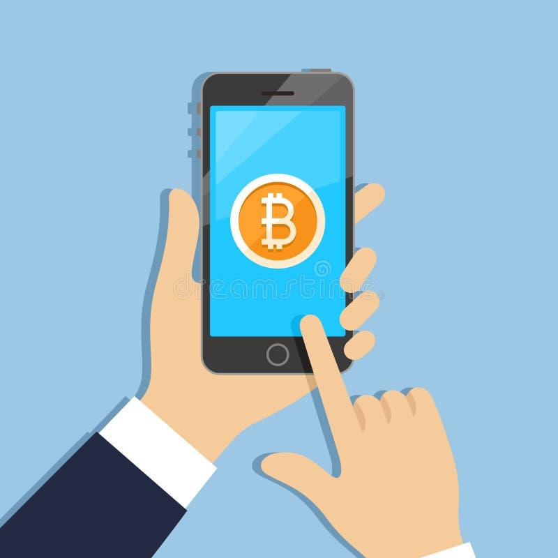 Bitcoin στην τηλεφωνική οθόνη ελεύθερη απεικόνιση δικαιώματος