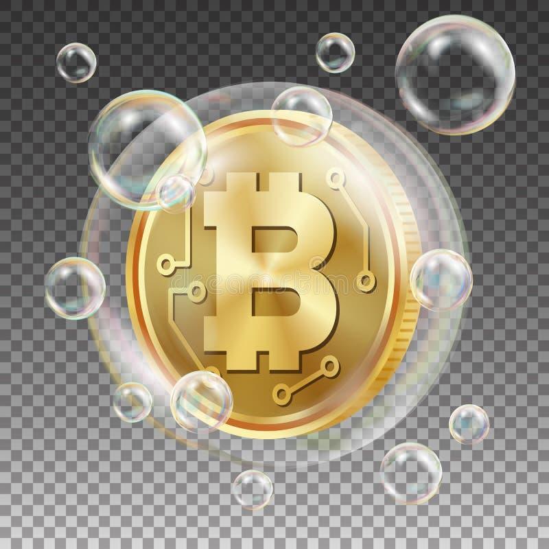Bitcoin в векторе пузыря мыла Инвестиционный риск Рыночная стоимость цены идя вниз Торговая операция обменом отрицательного приро иллюстрация вектора
