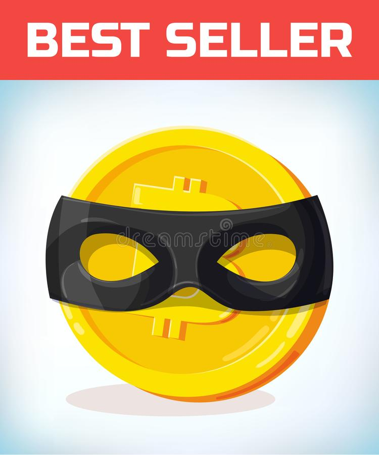 Bitcoin в маске zorro Bitcoin Валюта цифров Секретная валюта Деньги и символ финансов Монетка бита горнорабочей бесплатная иллюстрация