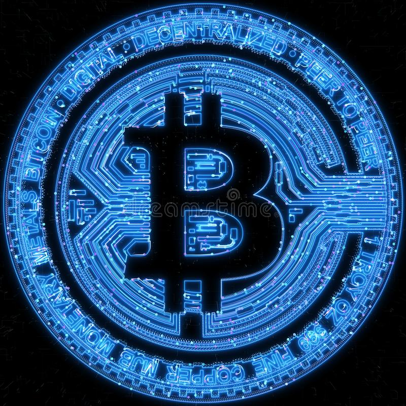 Bitcoin денег цифров на нервной предпосылке глобальной вычислительной сети иллюстрация штока