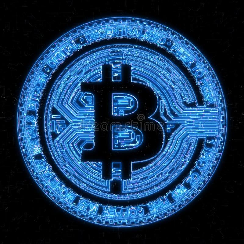 Bitcoin денег цифров на нервной предпосылке глобальной вычислительной сети бесплатная иллюстрация