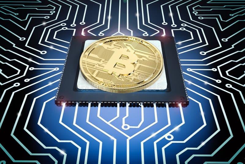 Bitcoin золота на монтажной плате стоковые фото