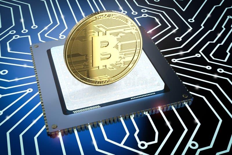 Bitcoin золота на монтажной плате иллюстрация штока