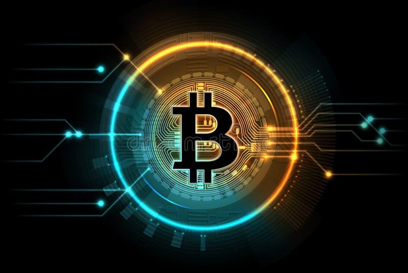 Bitcoin золота Символ дела минирования, рынок обменом интернета цифровой Cryptocurrency, вектор технологии blockchain иллюстрация штока