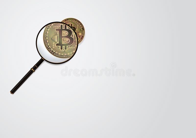 Bitcoin и вектор лупы Концепция дела Cryptocurrency изолированная иллюстрация руки кнопки нажимающ женщину старта s стоковое фото rf