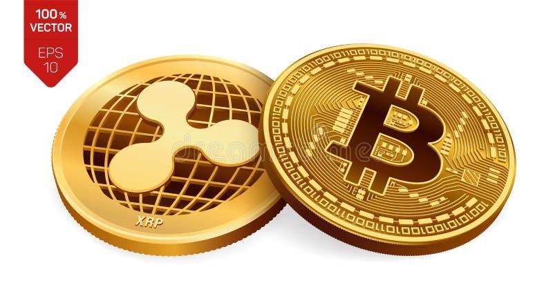Bitcoin и пульсация равновеликие физические монетки 3D Валюта цифров Cryptocurrency Золотые монетки с символом пульсации и bitcoi бесплатная иллюстрация