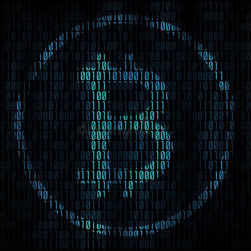 Bitcoin кодируя абстрактную предпосылку Матрица Bitcoin с бинарным кодом для вашей предпосылки проекта дела Программируя bitcoin иллюстрация вектора