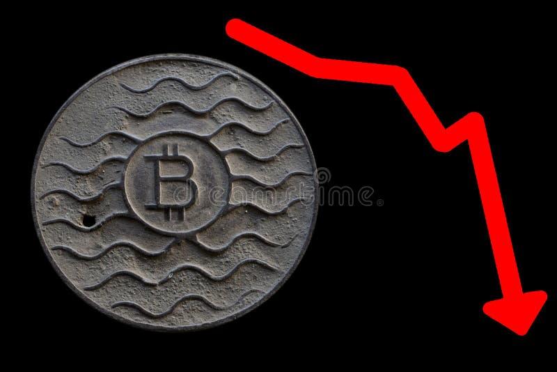 Bitcoin монетки ржаво на черноте стоковые изображения rf