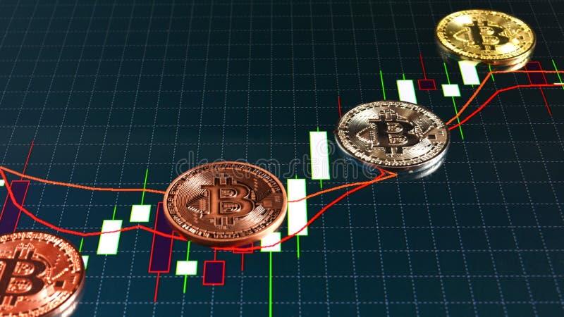 Bitcoin монеток и диаграмма продаж на фондовой бирже стоковая фотография