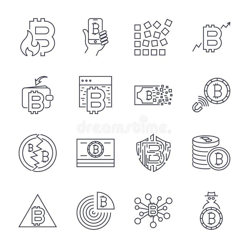 Bitcoin, набор значка значков Cryptocurrency тонкий monochrome, черно-белый набор : иллюстрация вектора