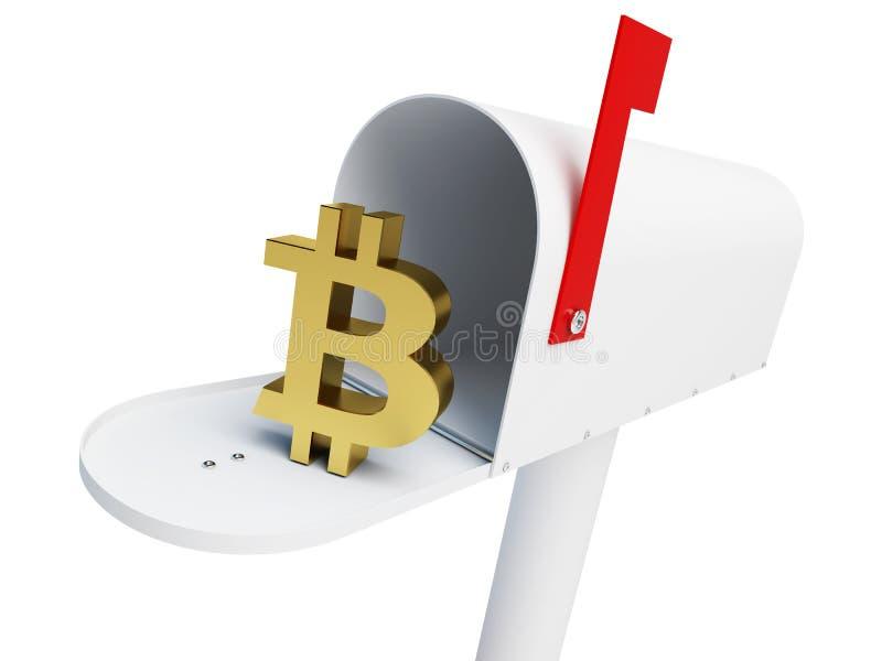 Bitcoin на белой иллюстрации предпосылки 3D, почтового ящика перевод 3D иллюстрация вектора