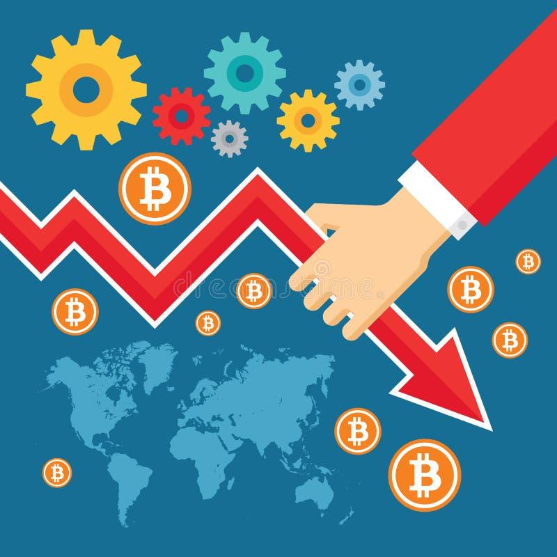 Bitcoin обменом графика иллюстрация вектора вниз - творческая в плоском стиле человек руки Абстрактная цифровая концепция cryptoc иллюстрация вектора