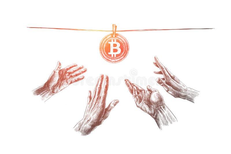 Bitcoin, обмен, минирование, технология, концепция финансов Вектор нарисованный рукой изолированный бесплатная иллюстрация