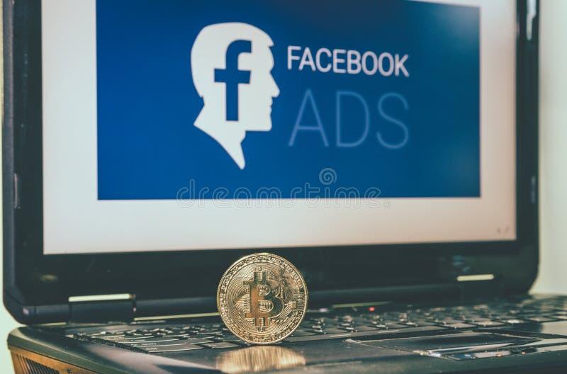 Bitcoin перед facebook добавляет фото 10/05/2019 Сидней Австралию стоковое изображение