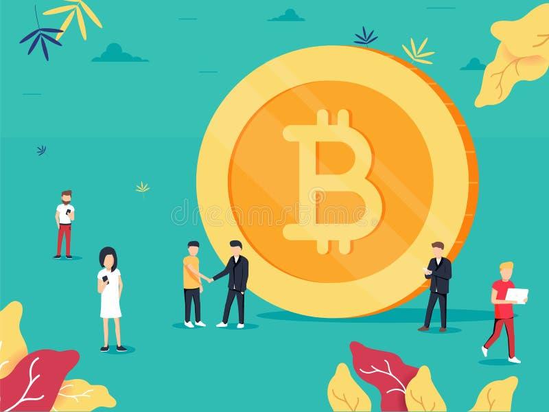Bitcoin Плоское знамя сети стиля дизайна технологии blockchain, bitcoin или altcoins и минирования cryptocurrency бесплатная иллюстрация