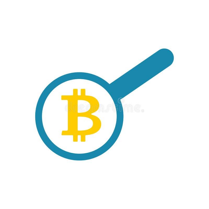 Bitcoin поиска Петля и Cryptocurrency деньги фактически Вектор i иллюстрация штока