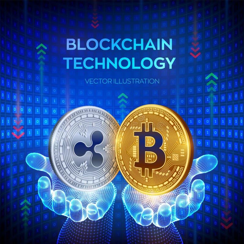 Bitcoin Пульсация Blockchain физическая сдержанная монетка 3D E Золотой и серебряная монета с символом bitcoin и пульсации внутри иллюстрация вектора