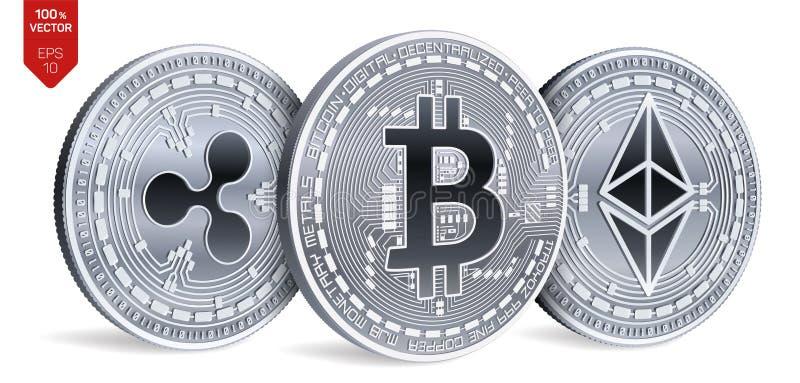 Bitcoin пульсация Ethereum равновеликие физические монетки 3D Валюта цифров Cryptocurrency Серебряные монеты с bitcoin, пульсацие иллюстрация вектора