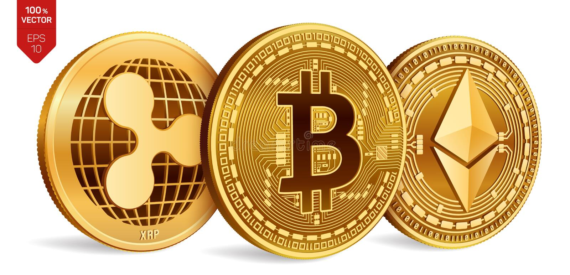 Bitcoin пульсация Ethereum равновеликие физические монетки 3D Валюта цифров Cryptocurrency Золотые монетки с bitcoin, пульсацией  иллюстрация штока