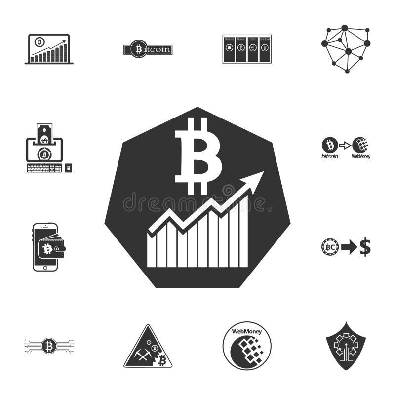 Bitcoin растет вверх значок диаграммы Секретные значки набора валюты иллюстрация штока