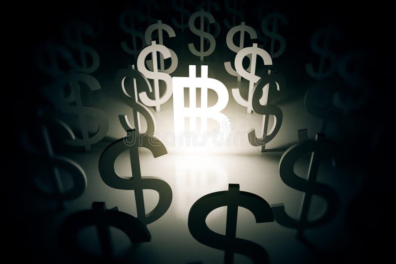 Bitcoin с знаками доллара вокруг иллюстрация вектора
