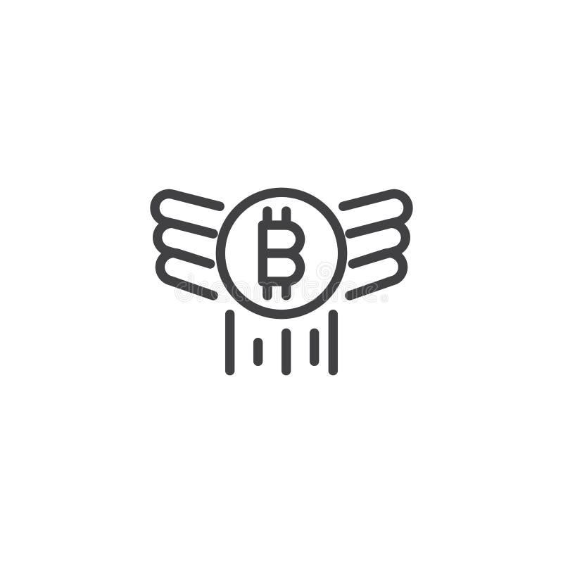 Bitcoin с значком плана крылов иллюстрация вектора