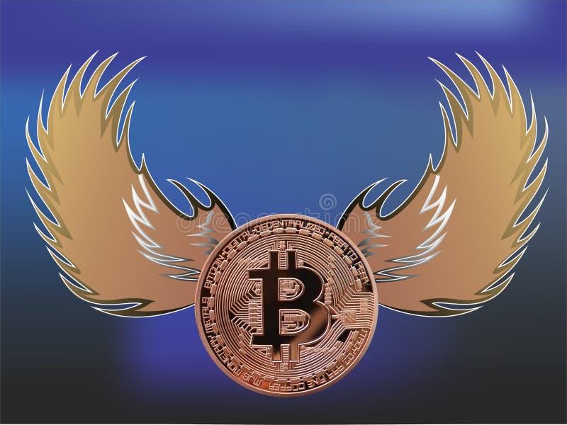 Bitcoin с крылами ангела иллюстрация вектора