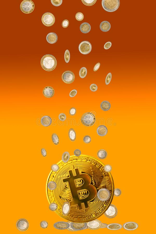 Bitcoin с предпосылкой монеток денег евро стоковая фотография rf