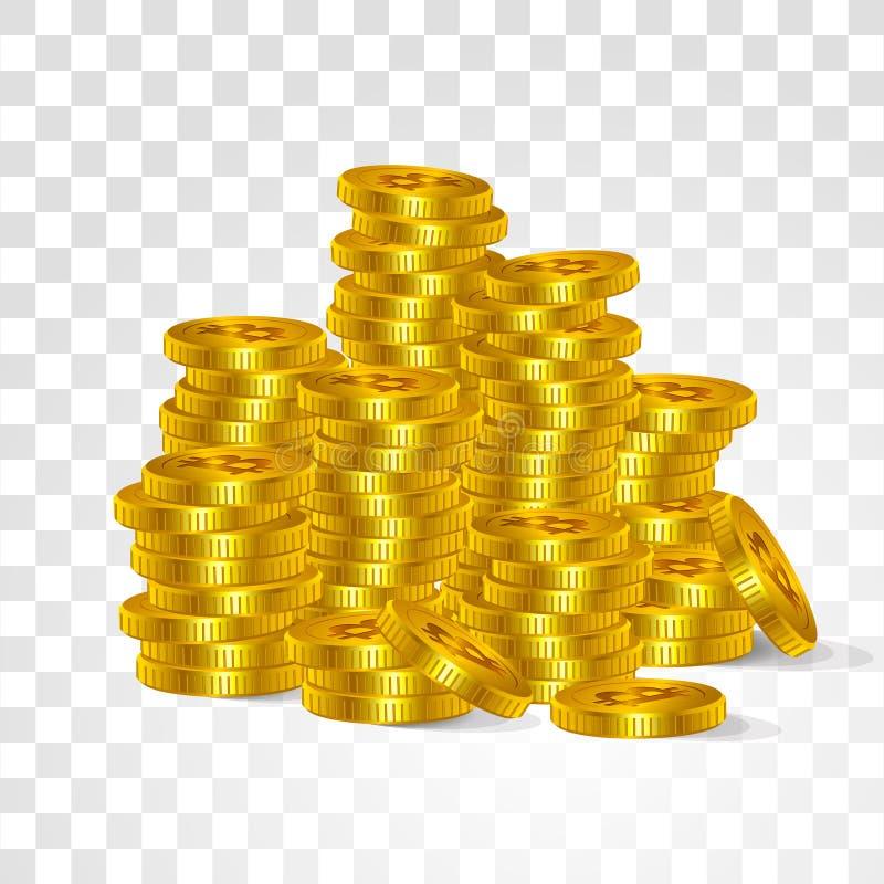 Bitcoin цифровой виртуальный поиск интернета валюты Vector штабелированные деньги золотой технологии символов монеток виртуальной иллюстрация вектора