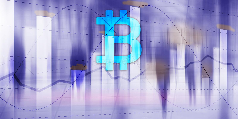 Bitcoin?? 在未来派背景的隐藏象 商业交换股票市场投资 库存例证