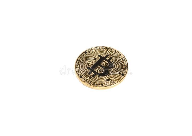 Bitcoin 未来货币 在白色背景隔绝的金黄Bitcoin 库存照片