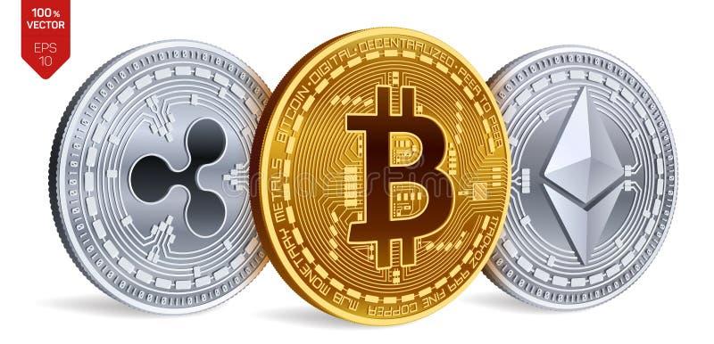 Bitcoin 波纹 Ethereum 3D等量物理硬币 数字式货币 Cryptocurrency 也corel凹道例证向量 库存例证