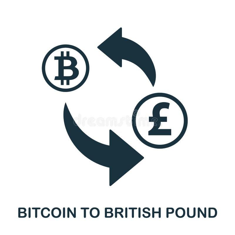 Bitcoin aan Brits Pondpictogram Mobiele app, druk, websitepictogram Het eenvoudige element zingt Zwart-wit Bitcoin aan Britten vector illustratie