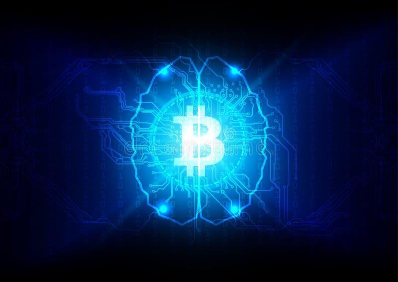 Bitcoin abstracto con concepto de la tecnología del cerebro y de circuito enfermo ilustración del vector
