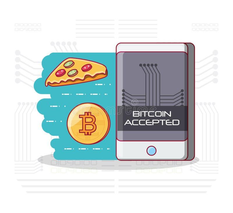 Bitcoin accepterade design royaltyfri illustrationer