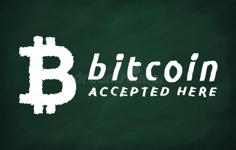 Bitcoin accepterade här royaltyfri illustrationer