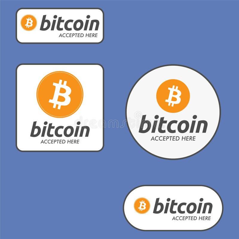 Bitcoin accepterade här betalningknappuppsättningen stock illustrationer