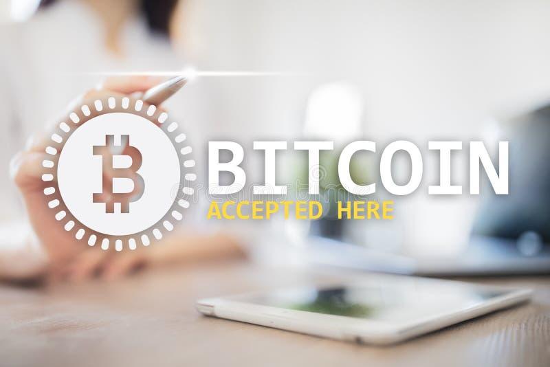 Bitcoin accepterade h?r text och logo p? den faktiska sk?rmen Online-betalning- och cryptocurrencybegrepp stock illustrationer