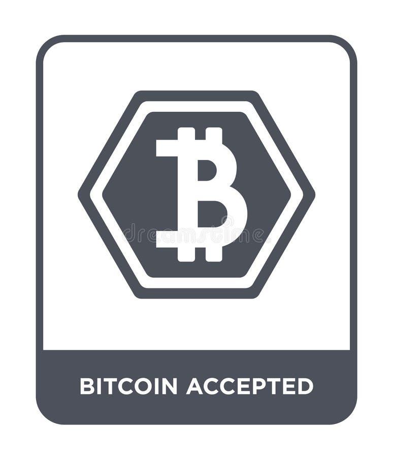 bitcoin accepterade symbolen i moderiktig designstil bitcoin accepterad symbol som isoleras på vit bakgrund bitcoin accepterad ve stock illustrationer