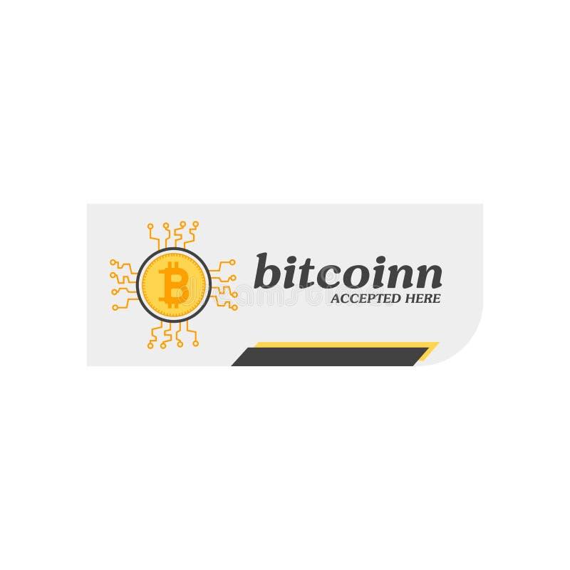 Bitcoin accepterade symbolsvektortecknet, och symbolet som isolerades på vit bakgrund, Bitcoin accepterade logobegrepp stock illustrationer