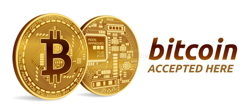 Bitcoin aceptó el emblema de la muestra moneda física isométrica del pedazo 3D con el texto aceptado aquí Moneda Crypto Monedas d libre illustration