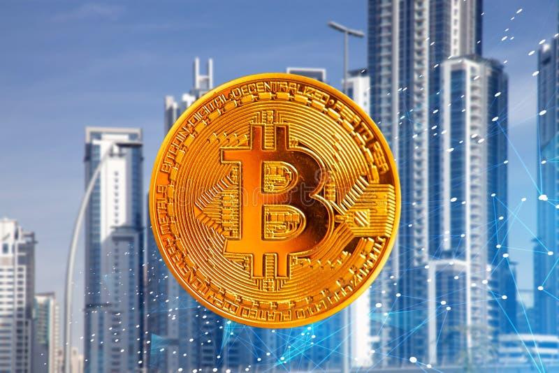 Bitcoin against skyscrapers - futuristic smart city - cryptocurrency concept. Finance, business, digital, money, technology, virtual, internet, blockchain vector illustration
