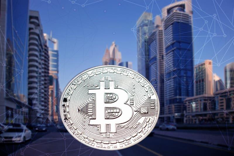 Bitcoin against skyscrapers - futuristic smart city - cryptocurrency concept. Finance, business, digital, money, technology, virtual, internet, blockchain stock illustration