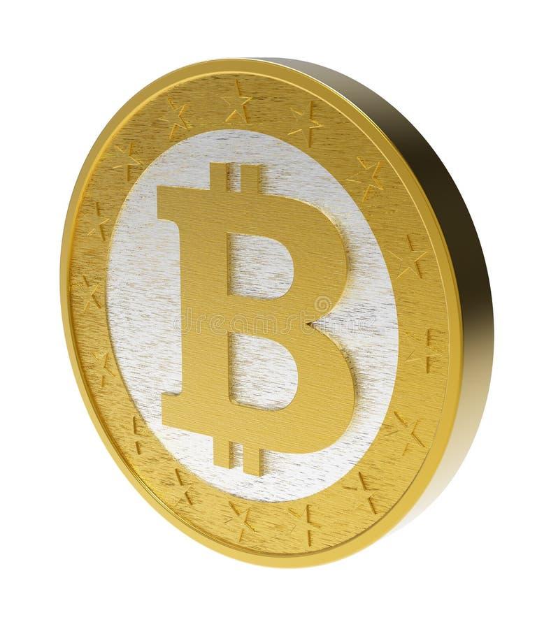 Bitcoin aisló en blanco. stock de ilustración