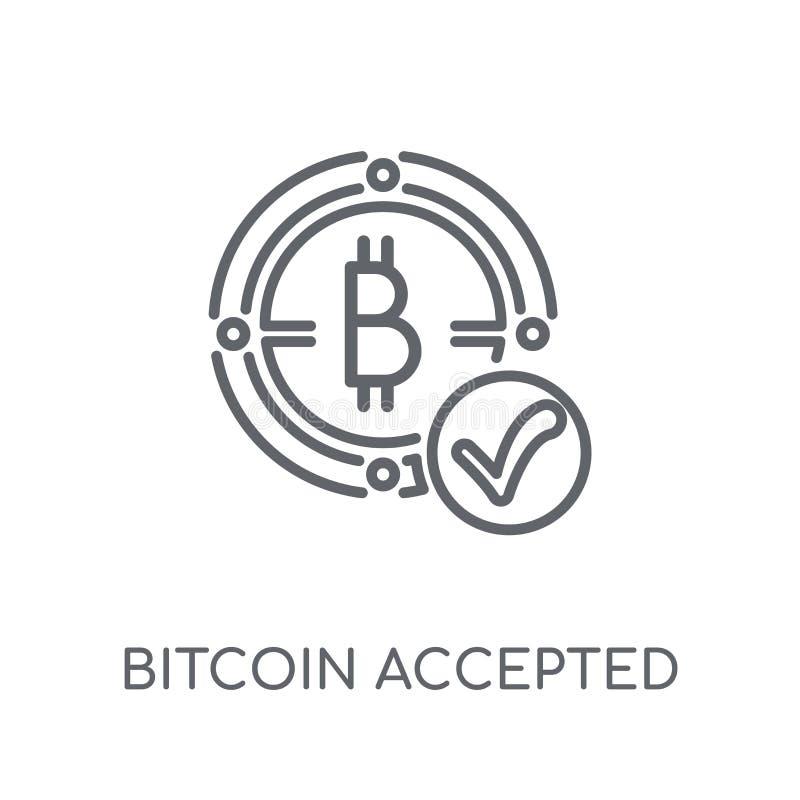 Bitcoin akceptował liniową ikonę Nowożytny konturu Bitcoin akceptujący lo ilustracji
