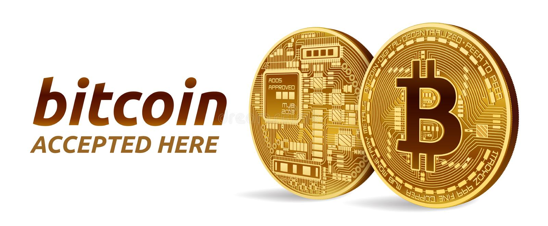Bitcoin akceptował szyldowego emblemat 3D kawałka isometric Fizyczna moneta z tekstem Akceptującym Tutaj Crypto waluta Złote mone royalty ilustracja