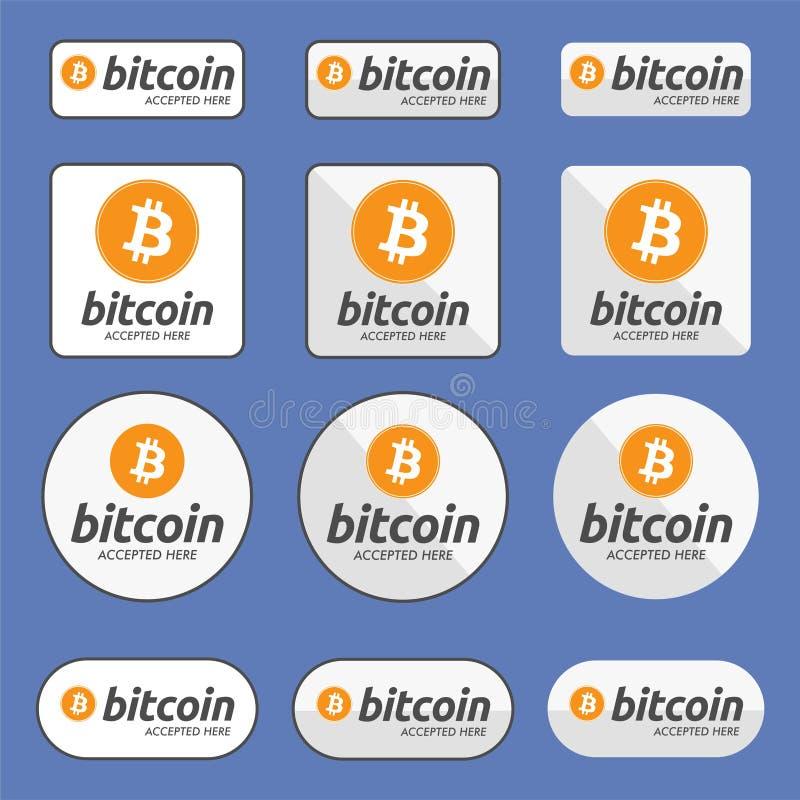Bitcoin akceptował tutaj Płatniczego guzika set royalty ilustracja